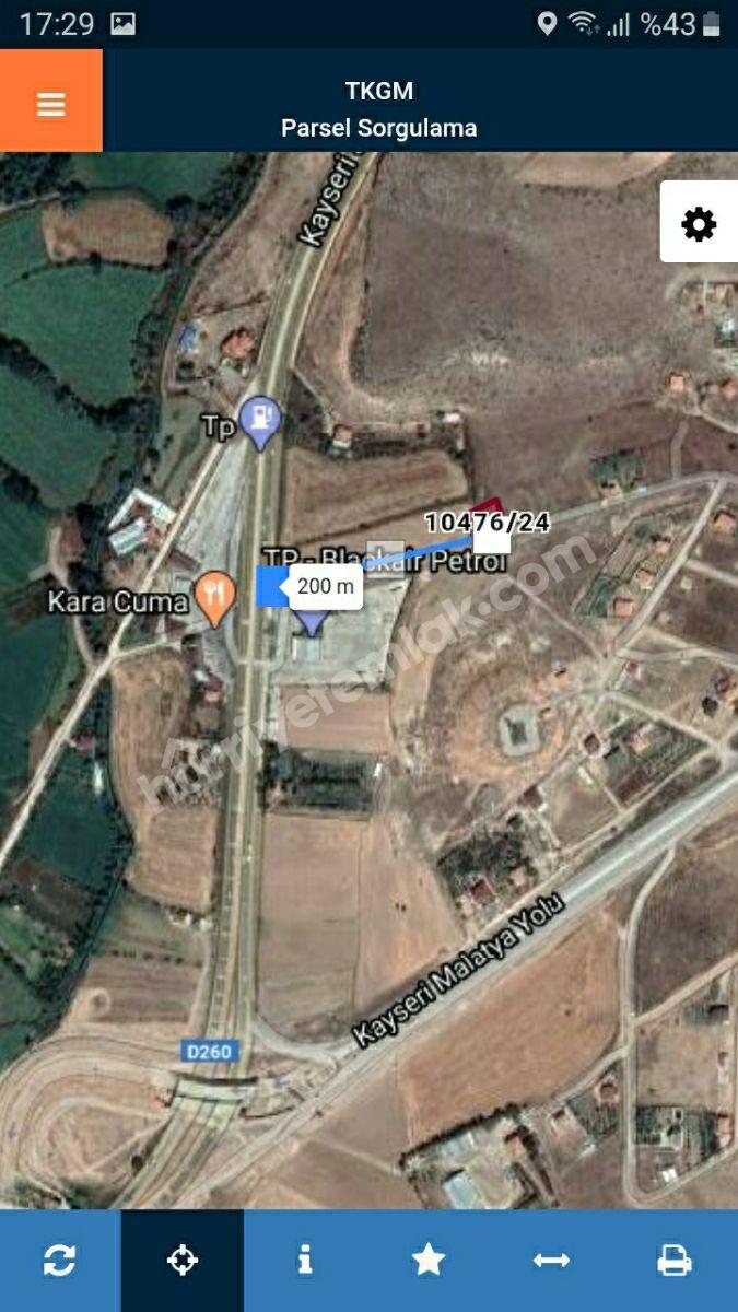 Kayseri Barsamada 843M2 PARSELLİ Villa Arsası Ana Yola Çok Yakın